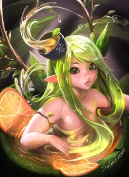 Green tea Orange Elfy by sakimichan
