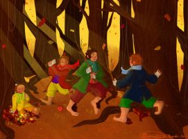 Playing in the leaves by Cliopadra