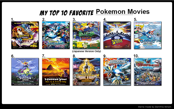 My Top 10 Favorite Pokemon Movies by FireMaster92