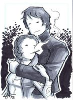 Han and Leia Sketchcard 2 by stratosmacca