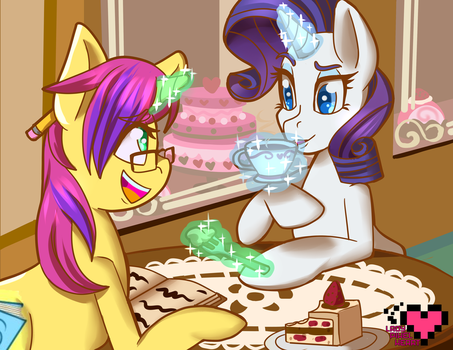 At a Canterlot Cafe with Rarity Commission by ladypixelheart