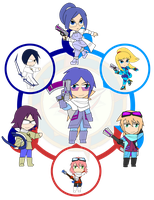 Assorted Chibis - AU Hexafusion 20 by Dragon-FangX