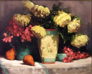 Yellow Peonies - Dayle R. Sazonoff by OilPaintersofAmerica