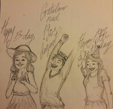 Birthday card sketches by Shiveringhands