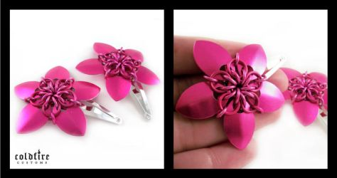 Pink Flower Clips by coldfirecustoms