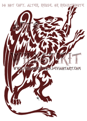 Red Gryphon Tribal Tattoo by WildSpiritWolf