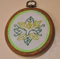 Green Man Hoop by VickitoriaEmbroidery