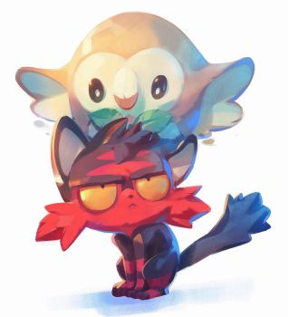 Rowlet and Litten by nicholaskole