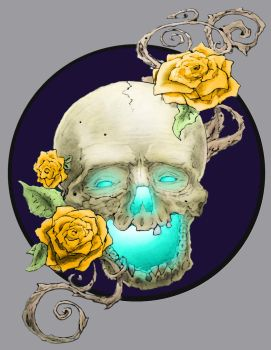 skull and roses by Lambtroncorp