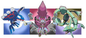 Kyogre, Hoopa Unbound and Rayquaza