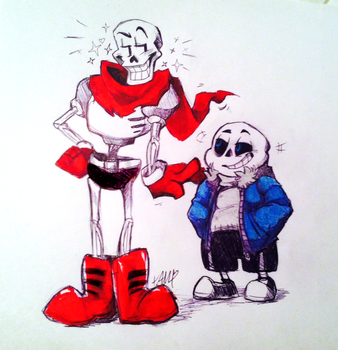 INKTOBER Day 02- Papyrus and Sans by AdorkableMarina