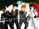 The young Ghostbusters and ecto-1 by GBMelendez23k