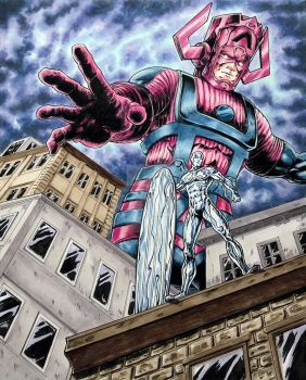 Galactus-Silver-Surfer-comission by shaotemp