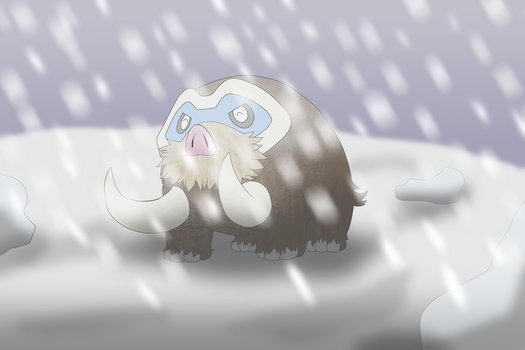 Commission 3/6: Mamoswine happy in the snow by OneLoveDrew