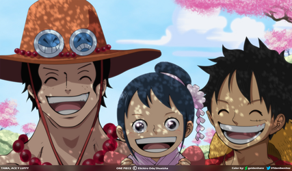 Tama Ace y Luffy by goldenhans by goldenhans