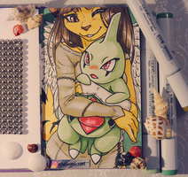 Shakumi and larvitar