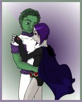 Beast Boy and Raven Colored by darkwings9