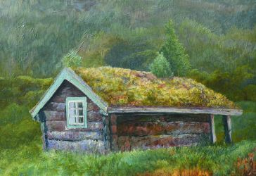 Small house with firs on it's roof by CalciteMink1610