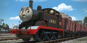 Black LBSC Thomas having trouble shunting trucks by The-ARC-Minister