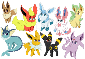 Eeveelutions by Renwuff