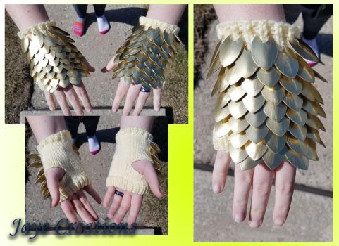 Brushed Gold on Pastel Small Gauntlets by WuffJaye