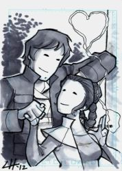 Han and Leia Sketchcard 1 by stratosmacca