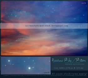 Rainbow Sky With Stars Premade by kuschelirmel-stock