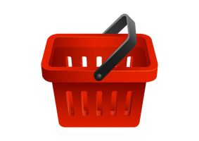 Red Shopping Basket Vector Icon by superawesomevectors