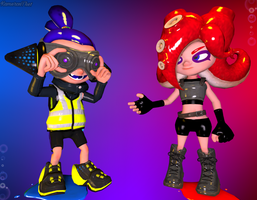 Splatoon Sfm] Inkling and Octoling by Kameron-Haru