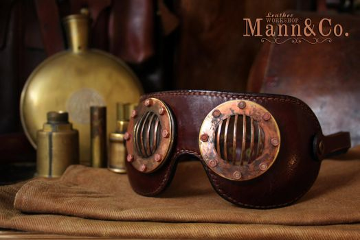 Goggles - coppered brass and brown leather by AmbassadorMann