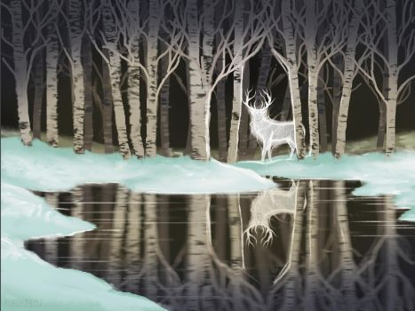 s26e07 Snow Birch - Stag Patronus by FilKearney