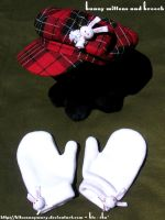 Bunny Mittens and Brooch by KitsenAnyMury