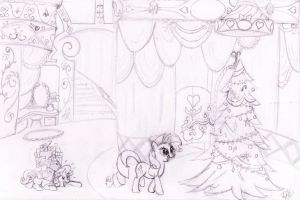 Hearth's Warming Eve at Carousel Boutique (rough) by lefthoovesdash