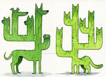 Cactus Dog and Cat by KaseyTheGolden