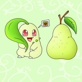 Chikorita Loves The Pears by DarkrexS