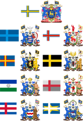 Provincial Flags and CoAs of Norrland by EricVonSchweetz