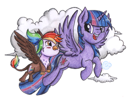 Commission - Rainbow Feather and Twilight Sparkle by VioletDanka-n-Silly