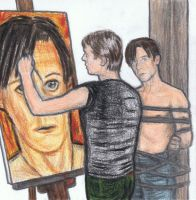David Bowie making a portrait of Iggy Pop by gagambo