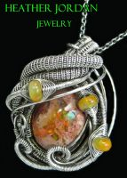 Mexican Cantera and Ethiopian Opal Pendant in SS by HeatherJordanJewelry