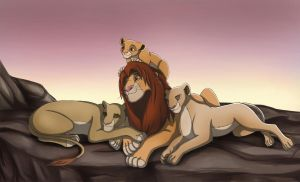 Simba and his girls by crybaby-1990