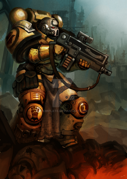 Imperial Fists Sternguard Veteran by kimplate