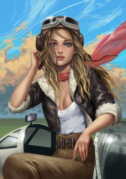 WW2 pilot girl by Yuuza