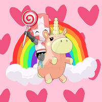 Castle Crashers x TF2 - Pink Knight x Balloonicorn by cookitsuni