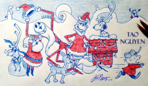 Tao Nguyen's Animated Christmas Crossover Drawing by TaoNguyenArts