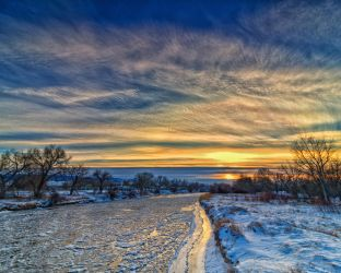 Christmas Eve Sunset on the Platte River by DeTea