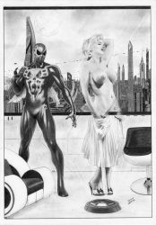 Spider-man  2099 and Marilyn Monroe hologram by TimGrayson
