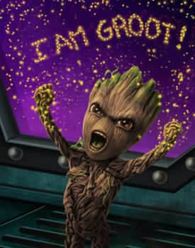 Fierce Baby Groot by dragynsart