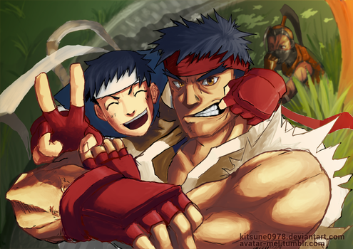 Ryu and Sakura - street fighter 25th tribute by kitsune0978