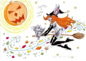 WitchBun and CatBat colored by caycay