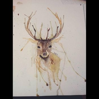 Watercolor Deer by fred22e